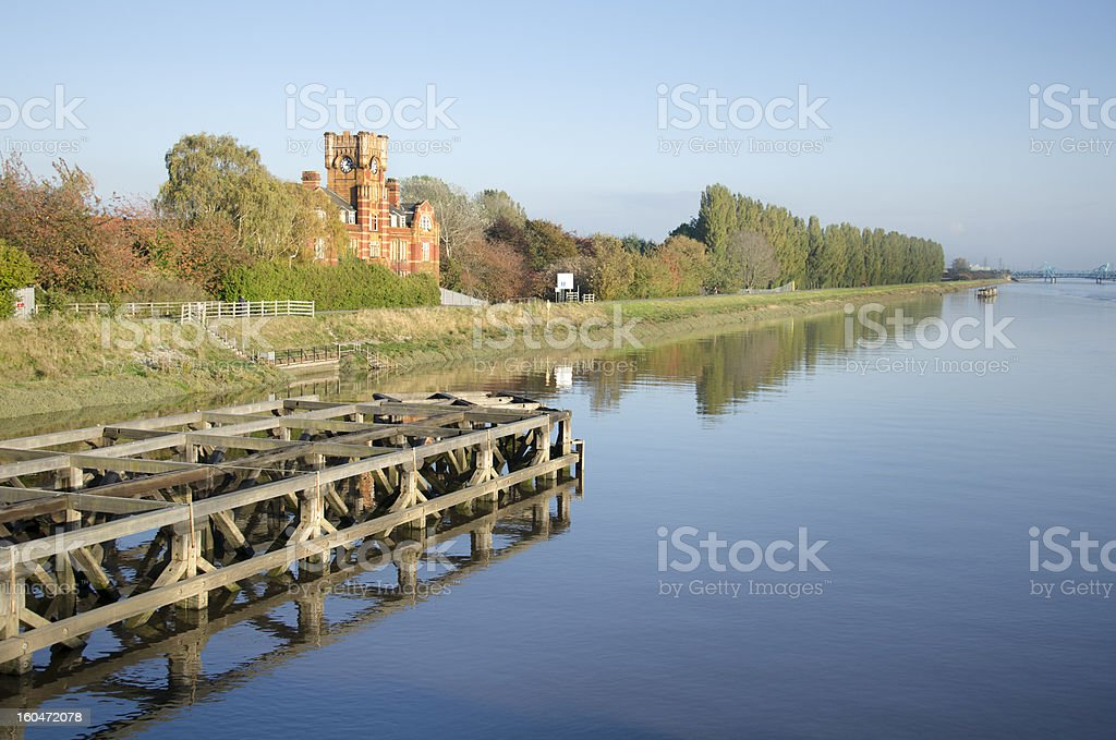 River Dee and Protective Structure at Hawarden Bridge royalty-free stock photo