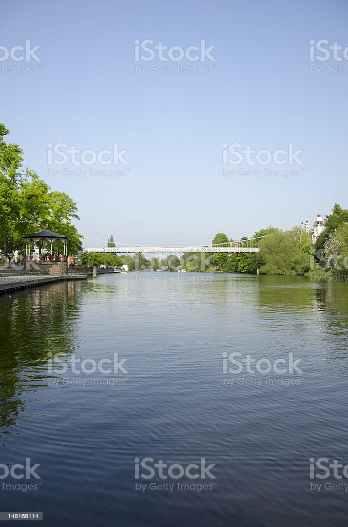 River Dee and Suspension Bridge in Chester royalty-free stock photo