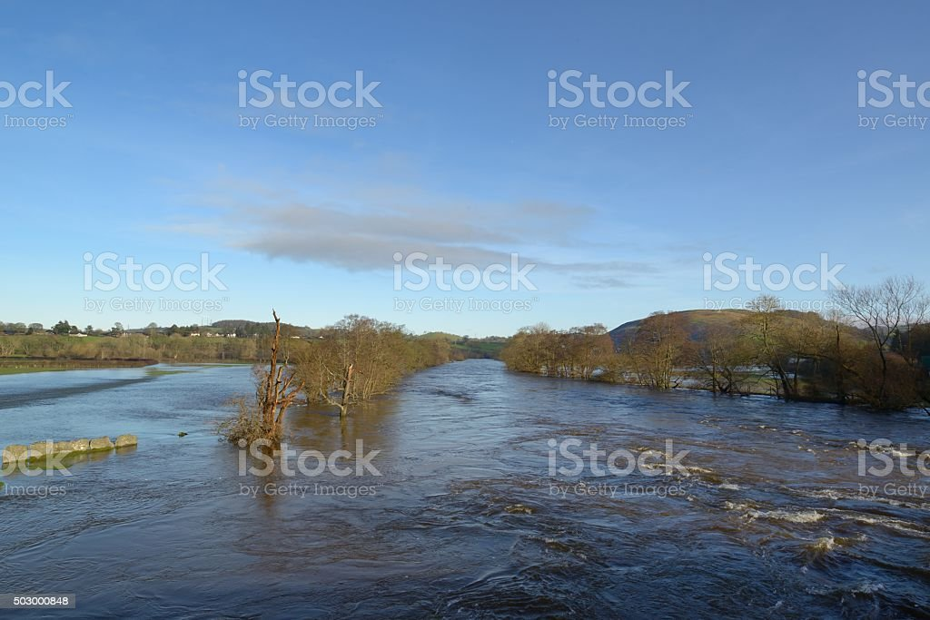 River dee at Corwen in flood stock photo