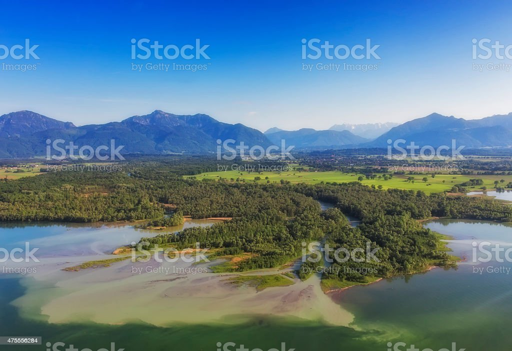 River Delta Tiroler Ache from the air over lake Chiemsee stock photo