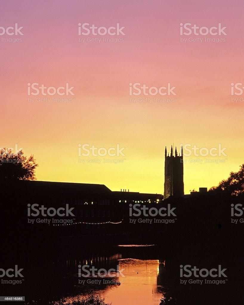 River Derwent at dusk, Derby, England. stock photo