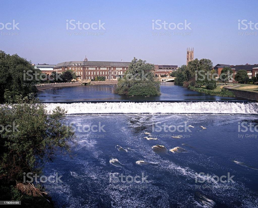 River Derwent, Derby, England. stock photo