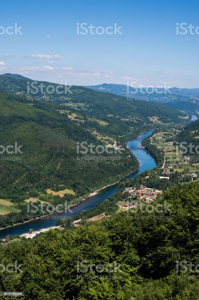River Drina in the Valley of Tara Mountain stock photo