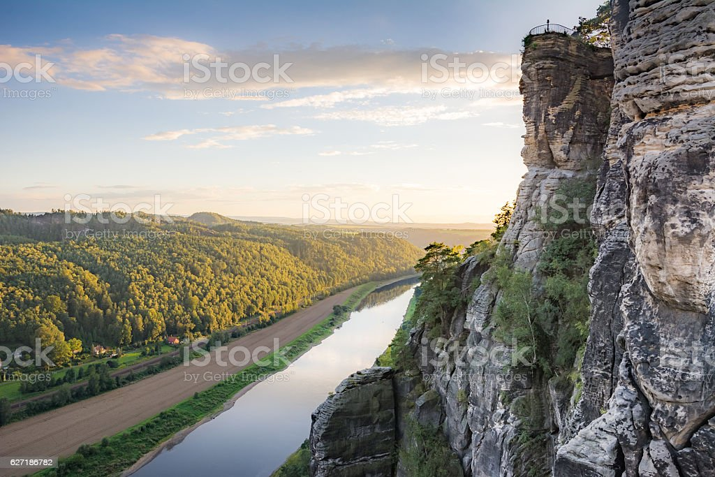 River Elbe in the Elbe Sandstone Mountains stock photo