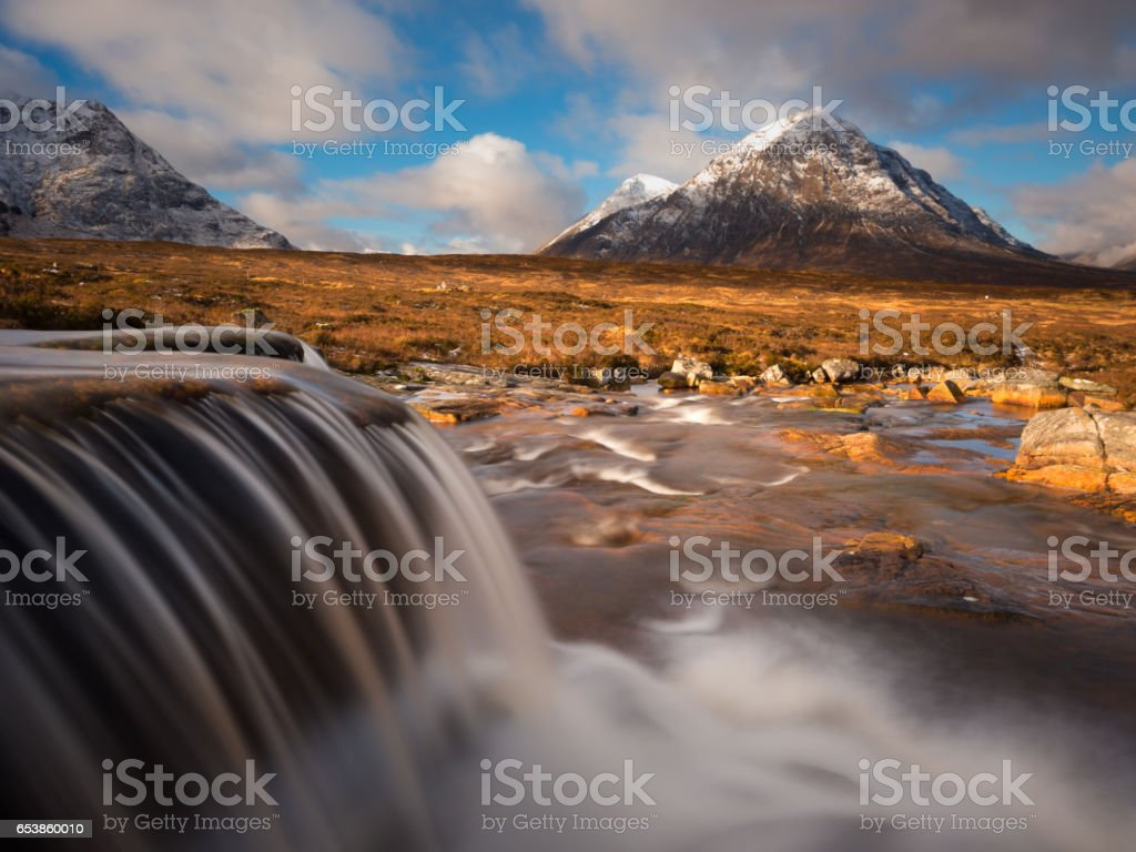 River Etive and Buachaille Etive Mor stock photo