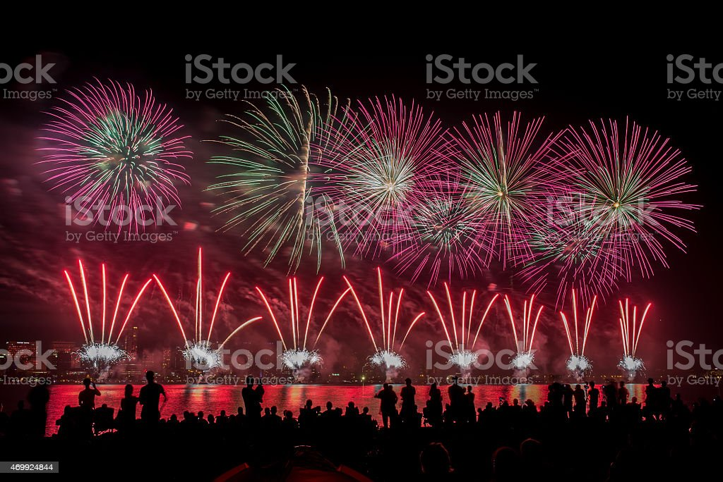 River fireworks display stock photo