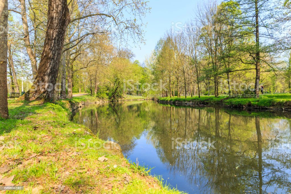 River Fiume Lambro passing through the park in Milan stock photo