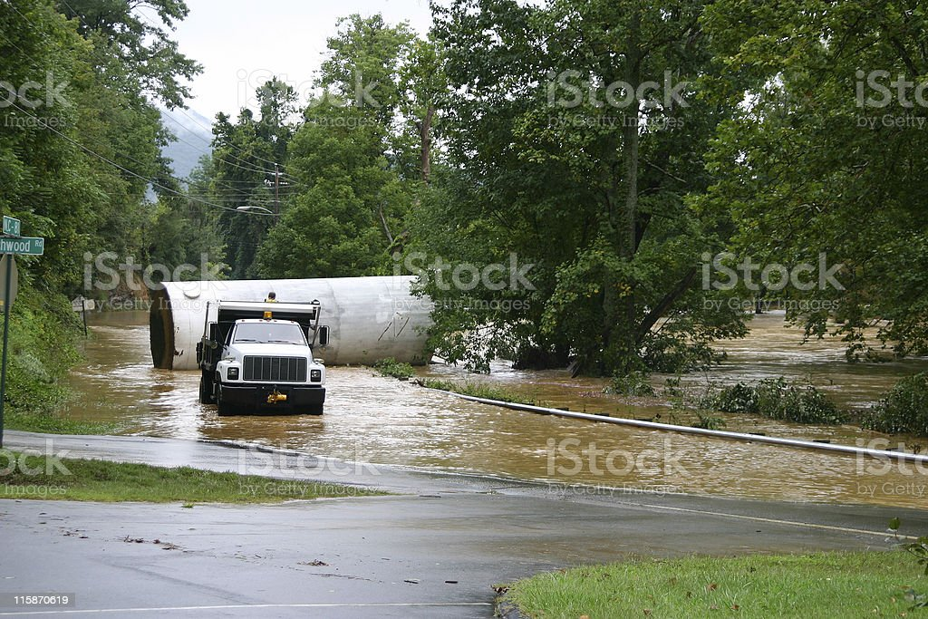 River Flooded Road royalty-free stock photo
