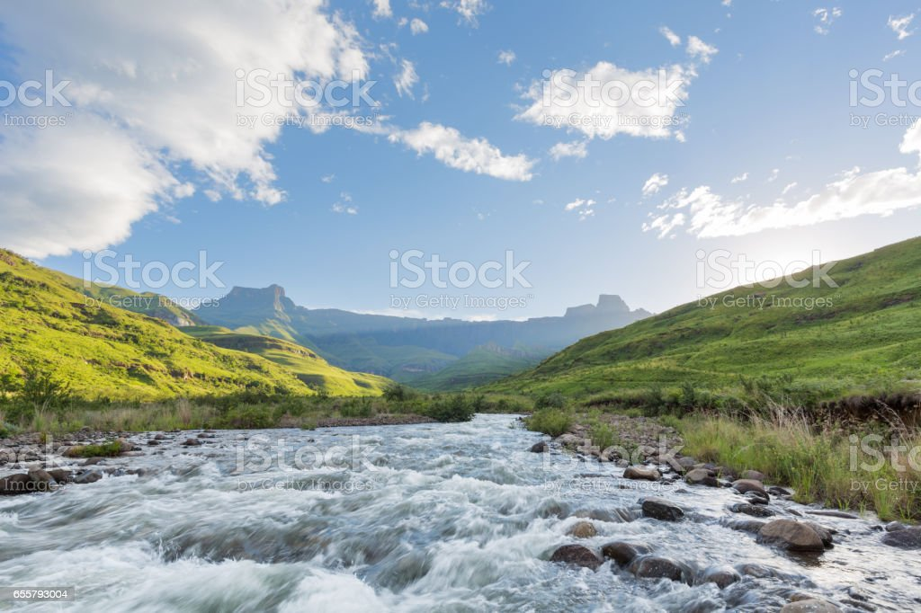 River flowing strong stock photo