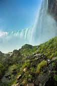 Horseshoe Falls from underneath the Niagara Falls, Ontario, Canada
