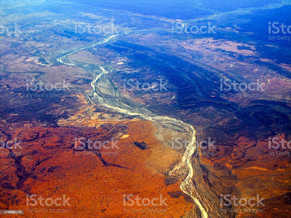 River flows through the outback of Australia stock photo