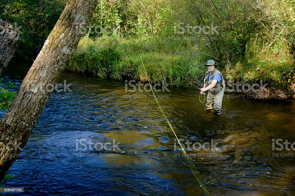 River Fly Fishing stock photo