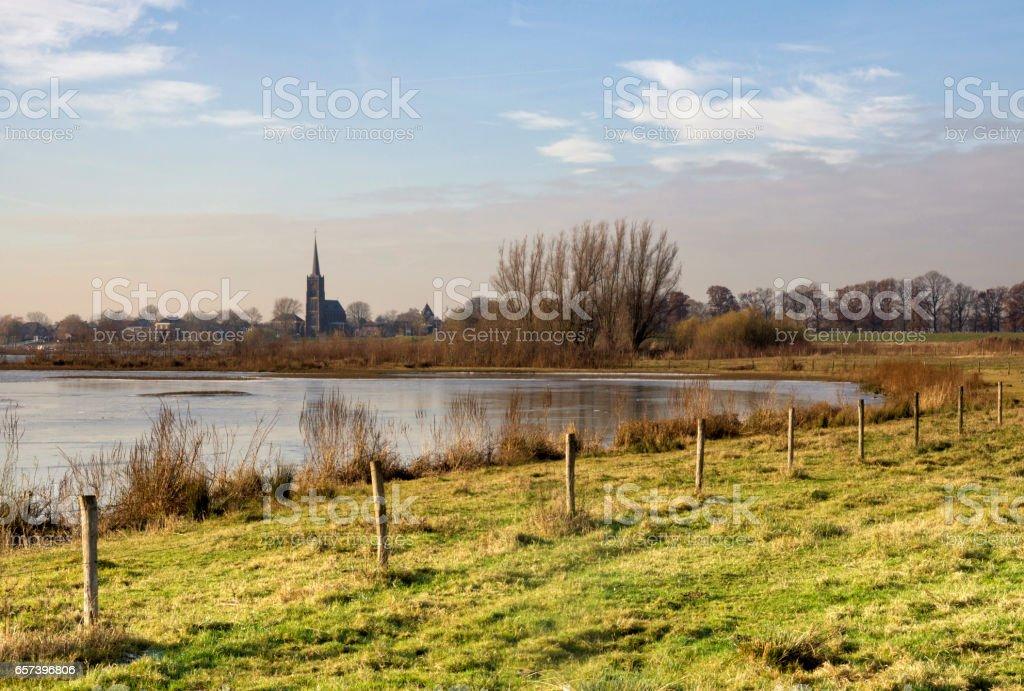 River foreland near Batenburg stock photo
