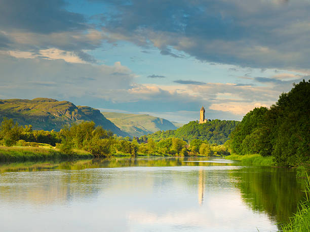 River Forth, Stirling looking towards the Wallace's Monument. stock photo