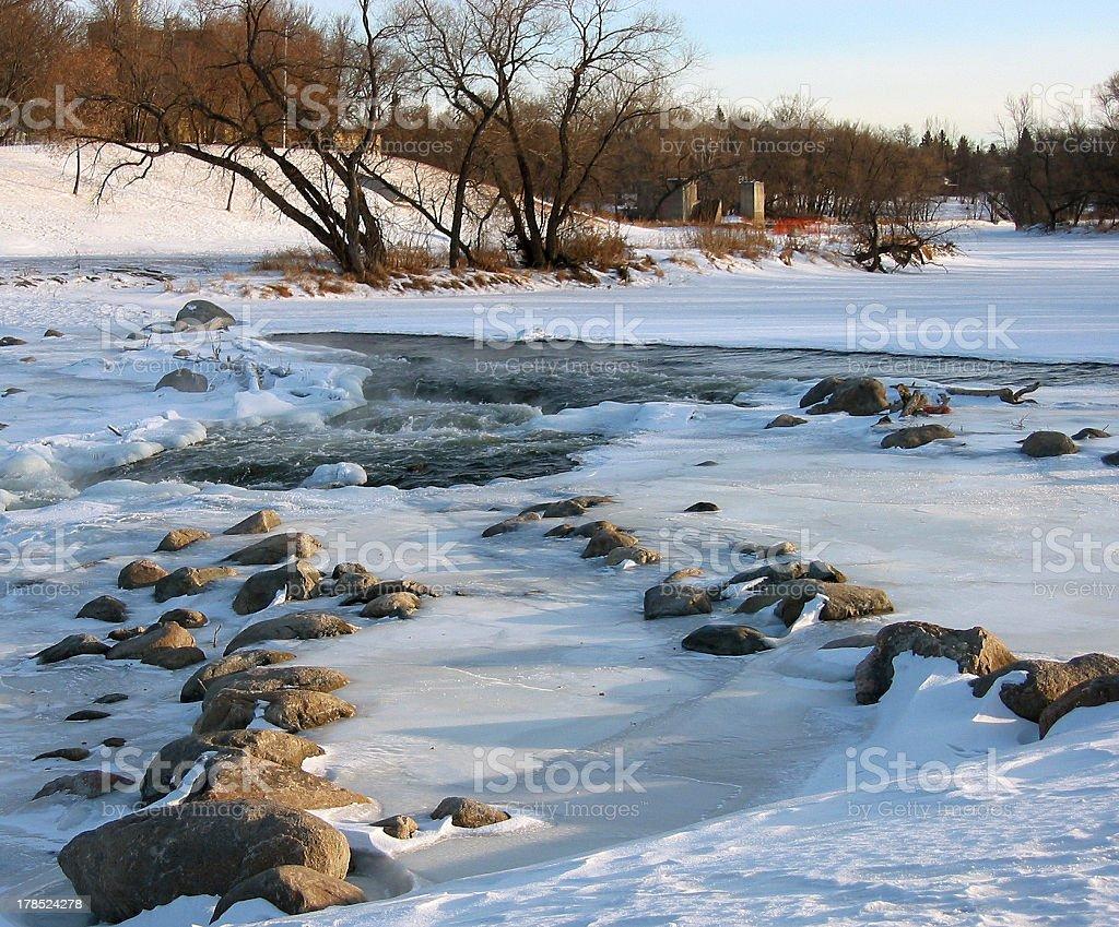 River freezing in Fargo stock photo