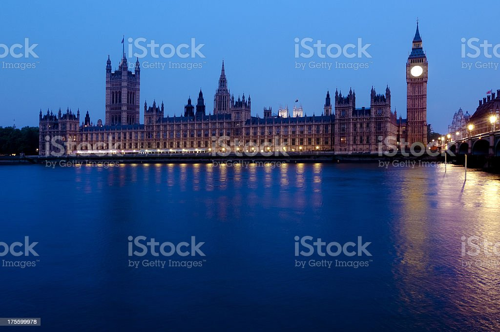 River Front View Houses of Parliament royalty-free stock photo
