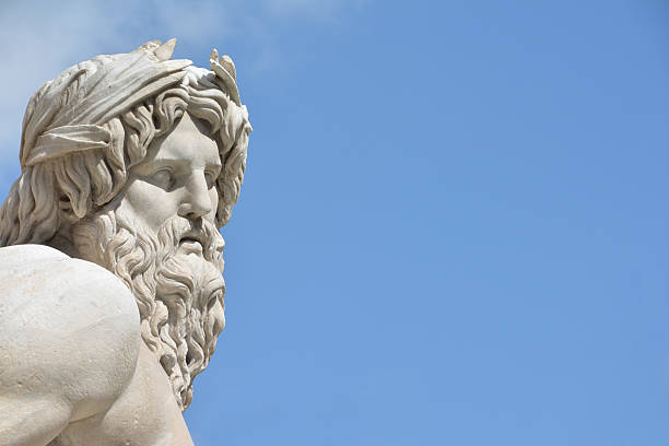 River Ganges statue as Greek God (with copy space) stock photo