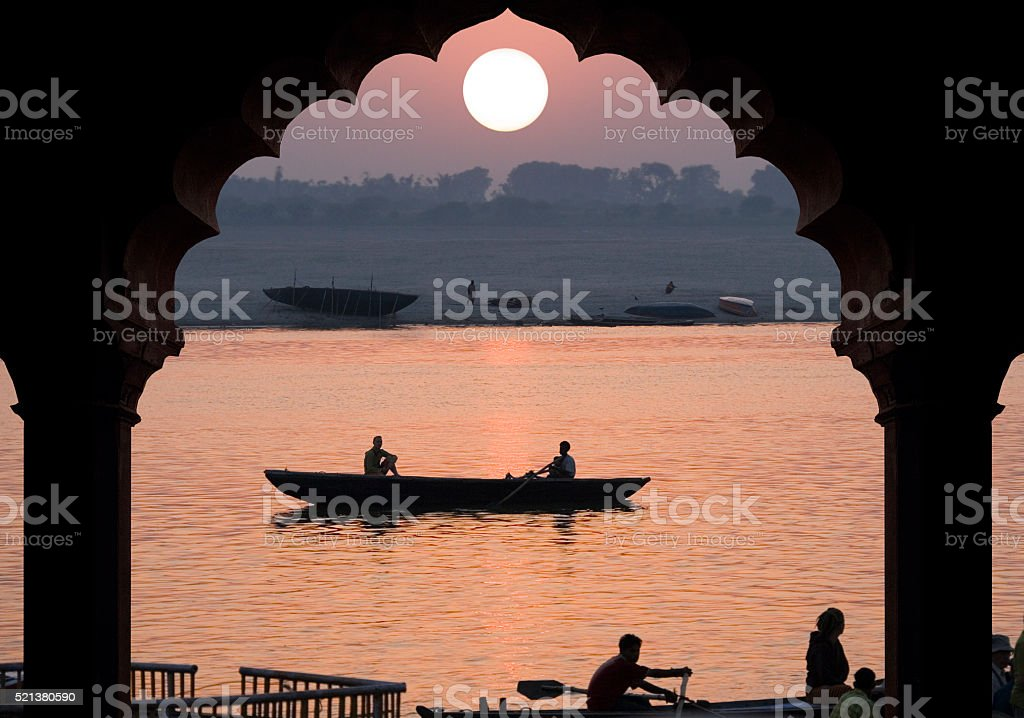 River Ganges - Sunrise - India stock photo