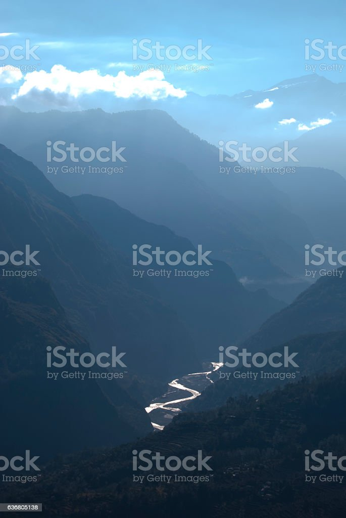 River Gori flowing through the deep ravines in central Himalayas stock photo