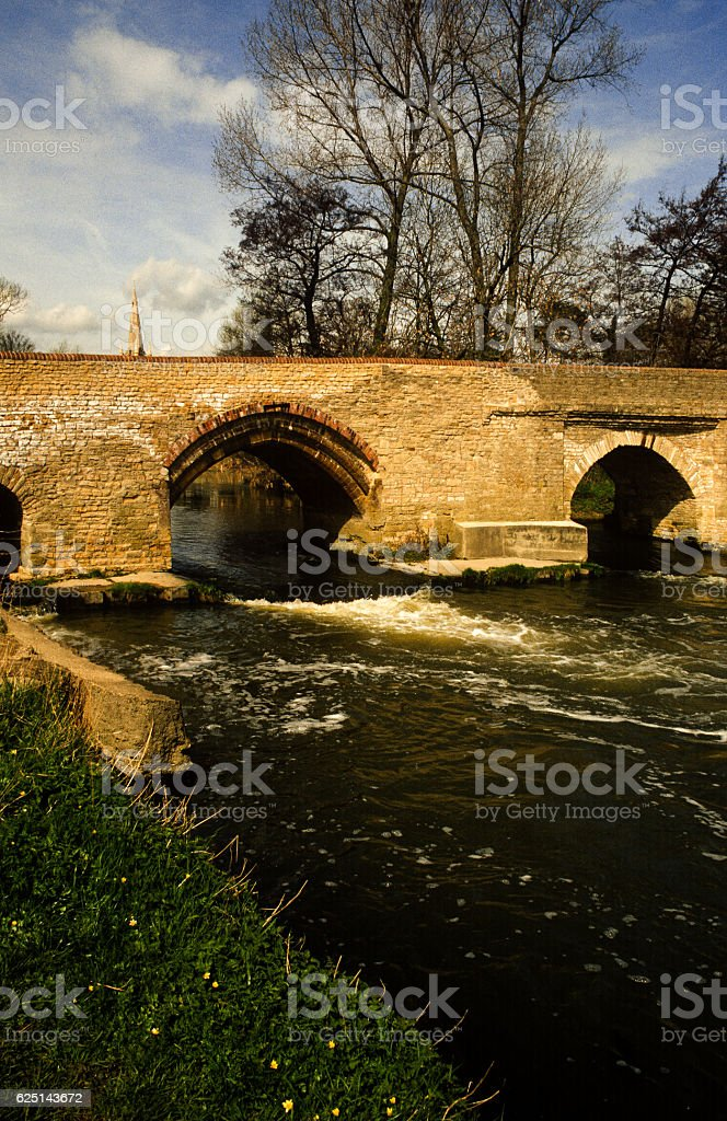 river great ouse medieval bridge england uk stock photo