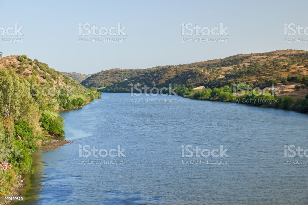 River Guadiana on the boundary between Portugal and Spain stock photo