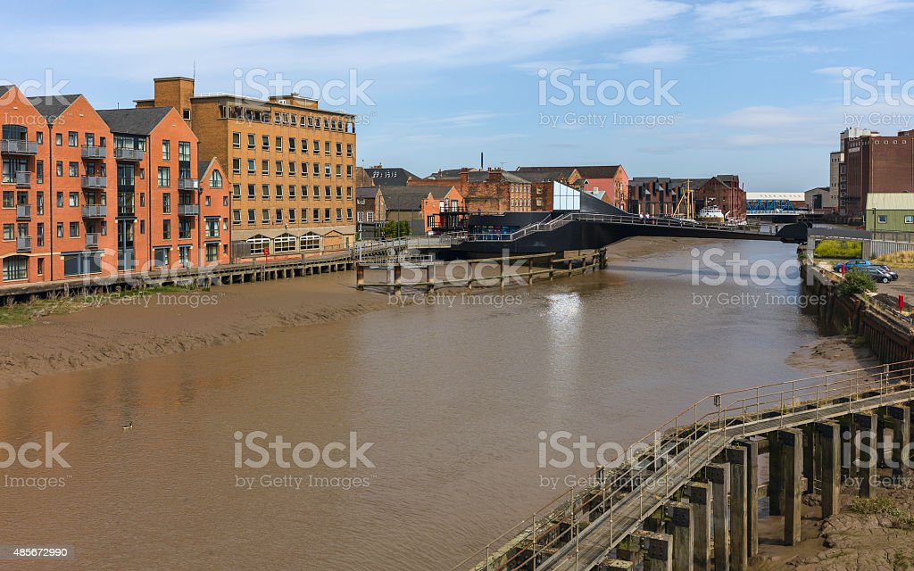 River Hull at low tide, Hull, Humberside, UK. stock photo