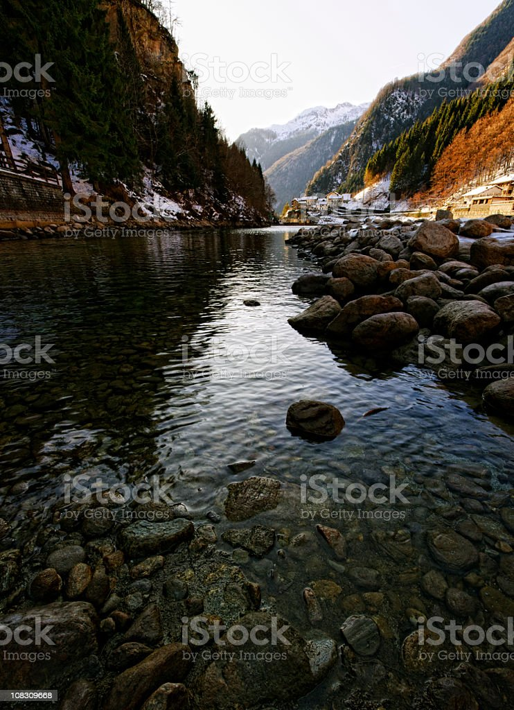 River in European Alps. Color Image royalty-free stock photo