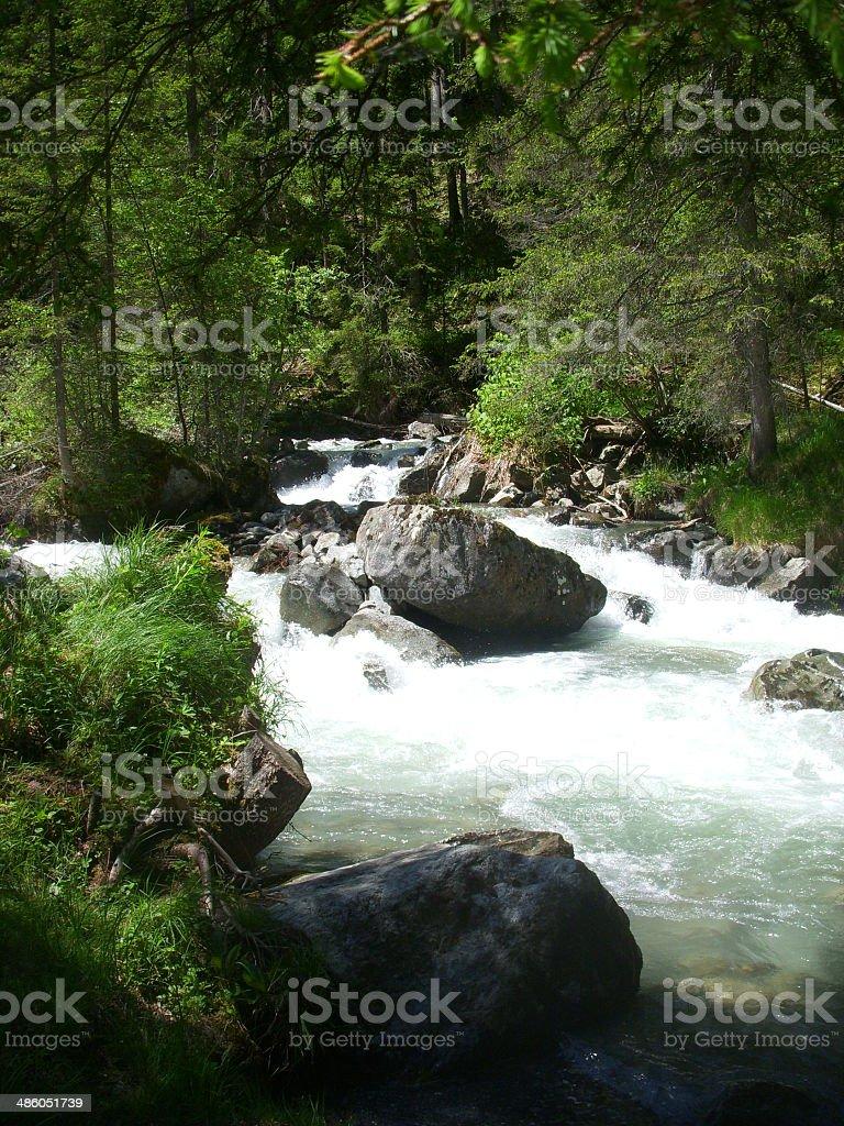 River in European Alps stock photo
