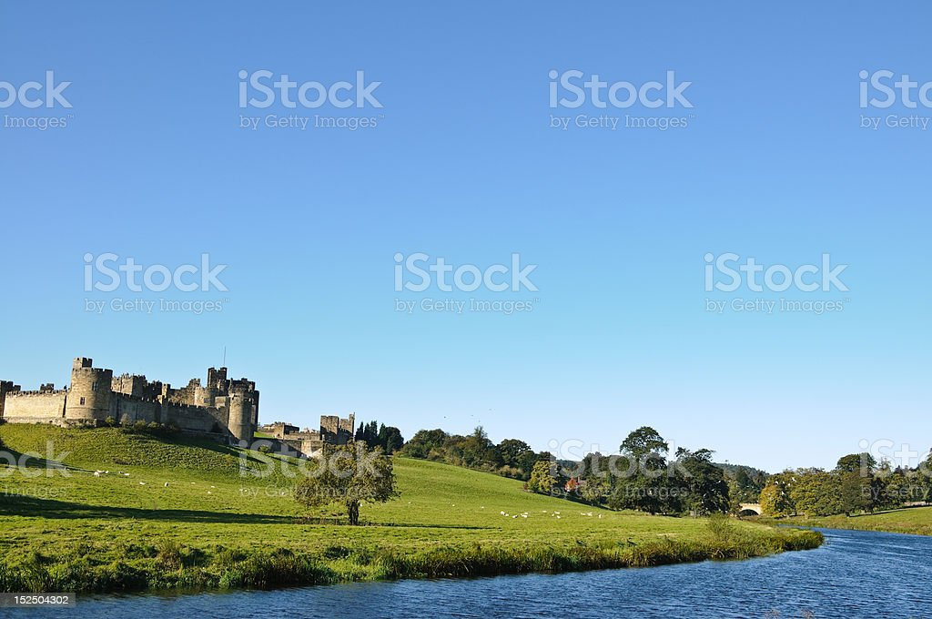 River in front of Alnwick Castle stock photo