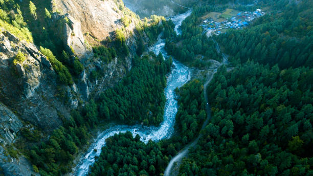 River in Himalayas range Nepal from Air view from drone stock photo