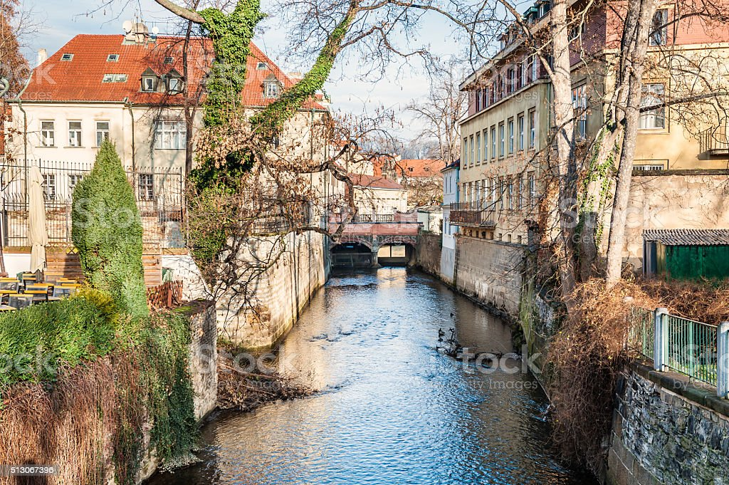 River in Kampa park, Prague, Czech Republic. stock photo