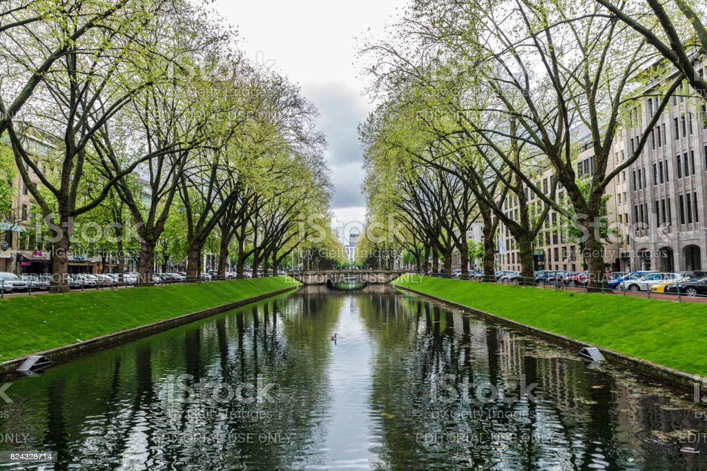 River in Konigsallee street in Dusseldorf, Germany stock photo