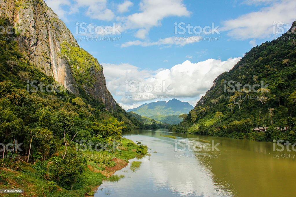 River in Nong Khiaw stock photo