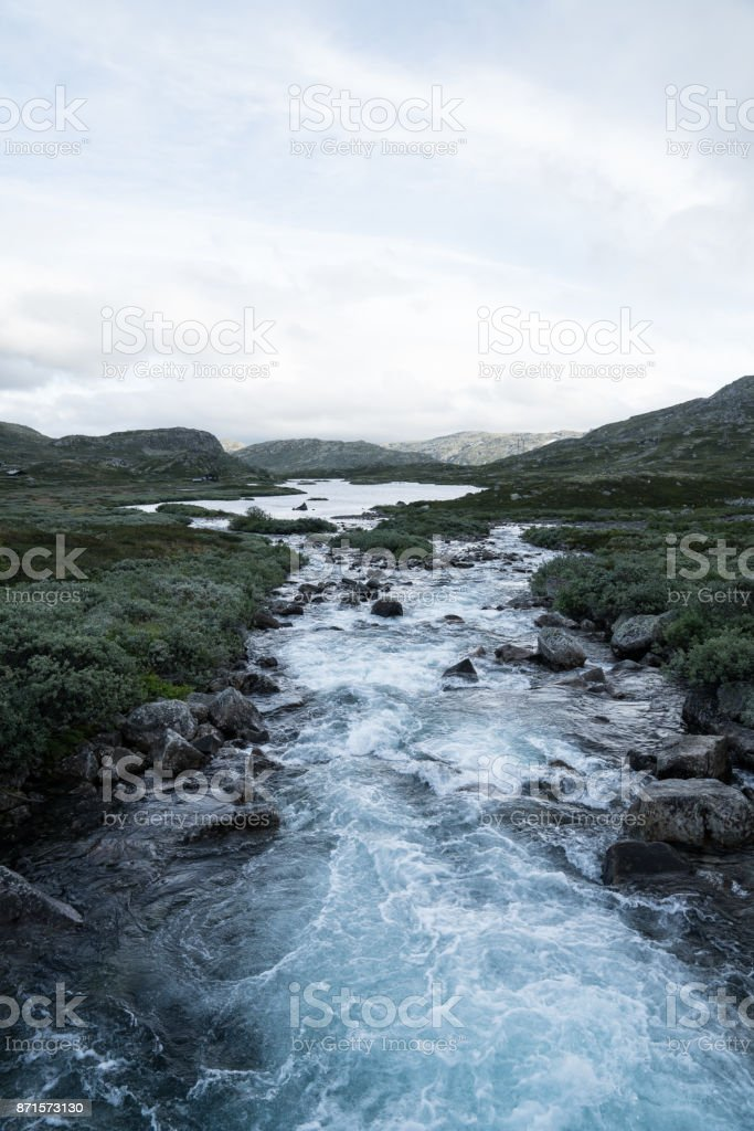 River in Norway at The Hardangervidda stock photo