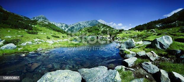 Panoramic shot of river in Pirin mountains. Bulgaria.