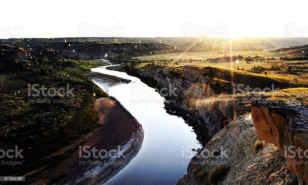 River in the Badlands stock photo