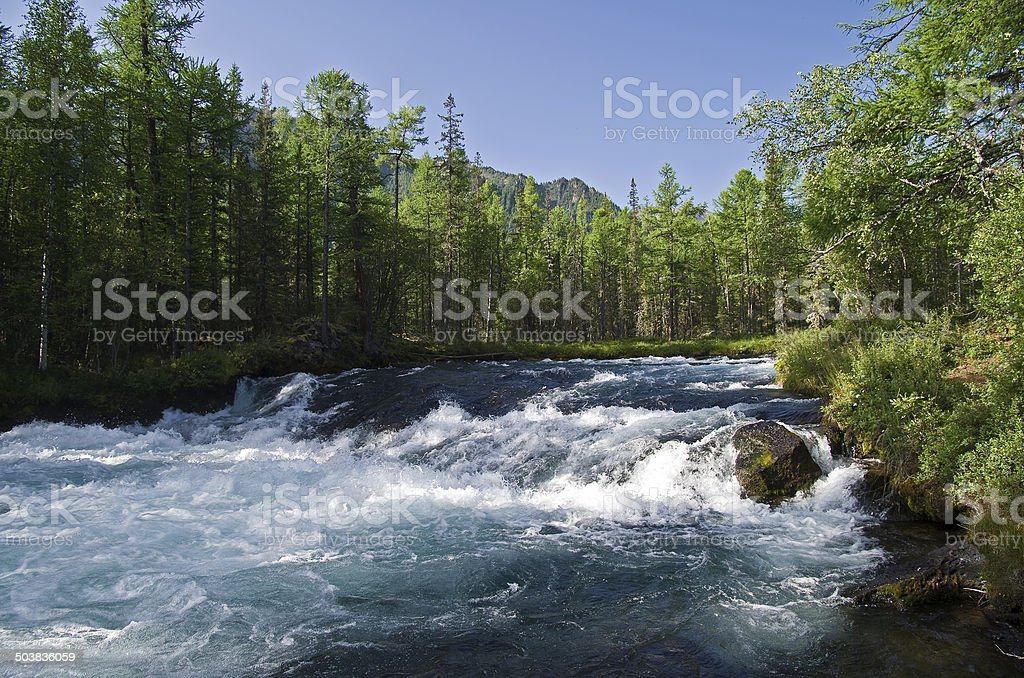River in the Eastern Sayan Mountains stock photo