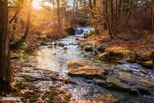 Fall in the forest. Litthe creek in the  Poconos region, Pennsylvania, USA. Long exposure