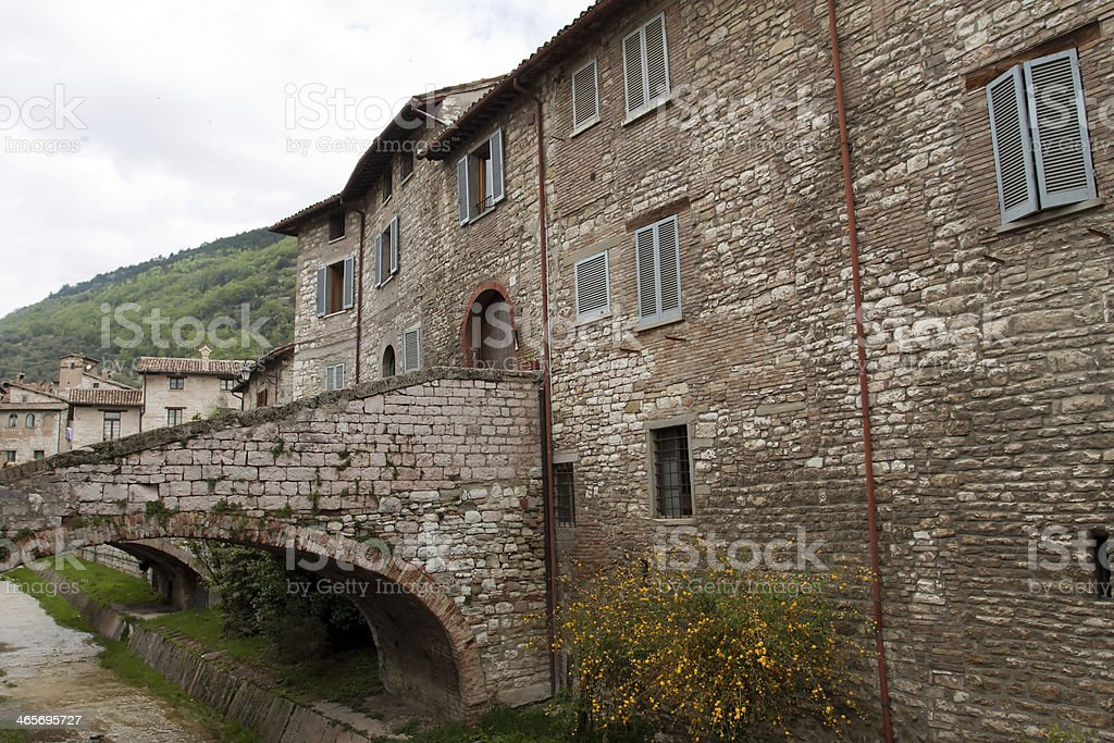 River in the historic center of Gubbio, Umbria - Italy royalty-free stock photo