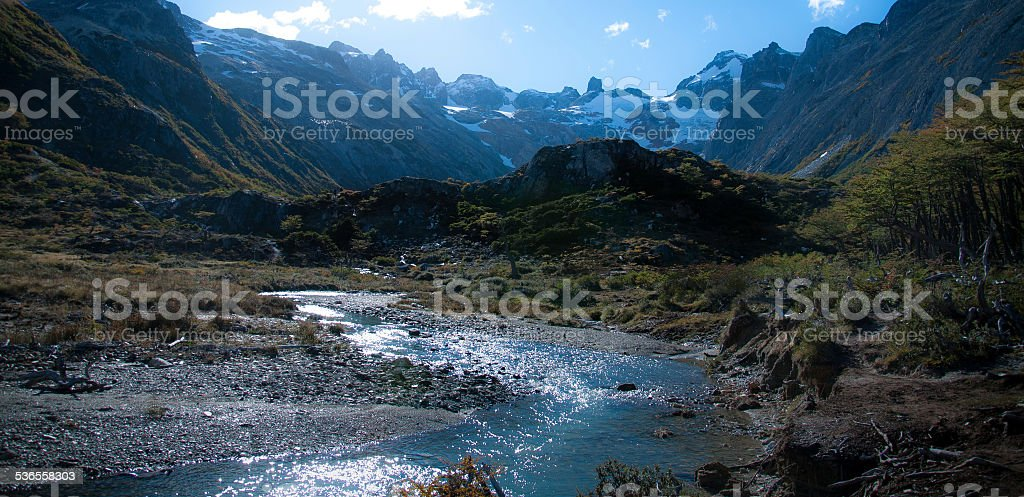 river in the mountains in ushuaia argentina patagonia stock photo