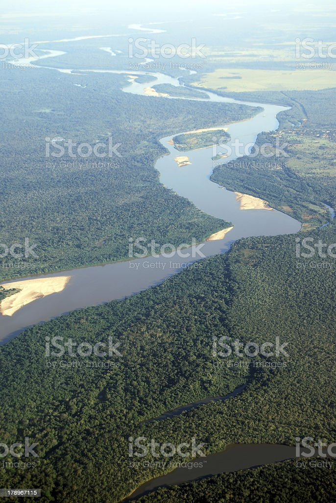 River in tropical rainforest stock photo