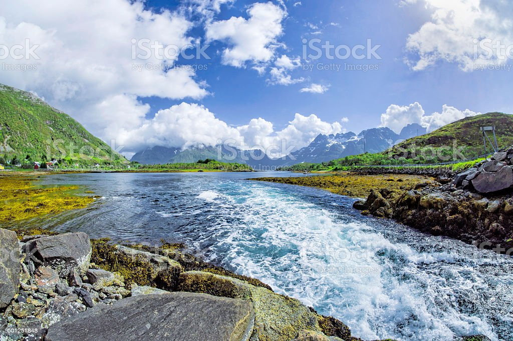 River in wilderness area on Lofoten Islands, Norway stock photo
