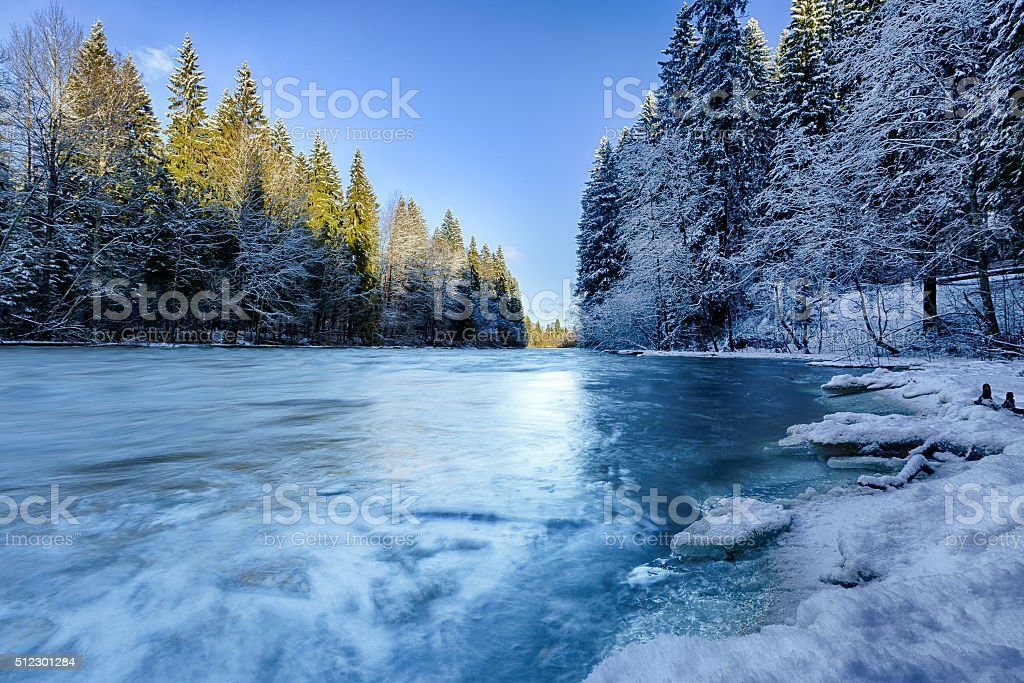 River in winter forest stock photo