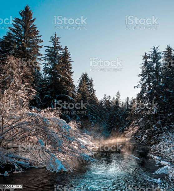 Photo of River in winter on sunny day