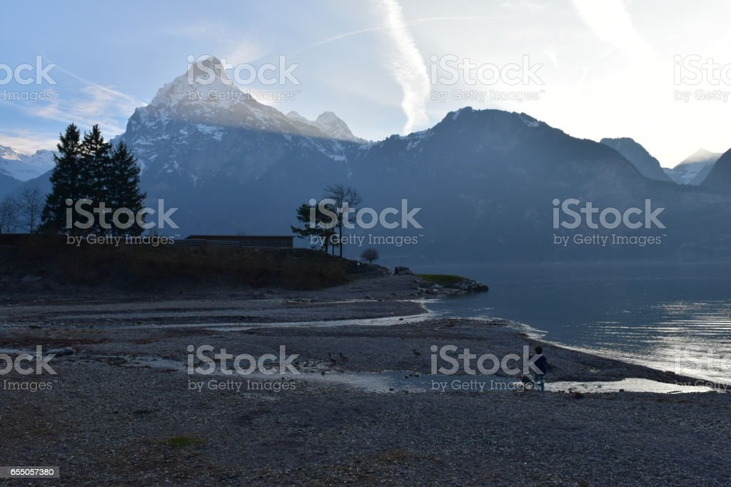 River Inlet during evening hours stock photo