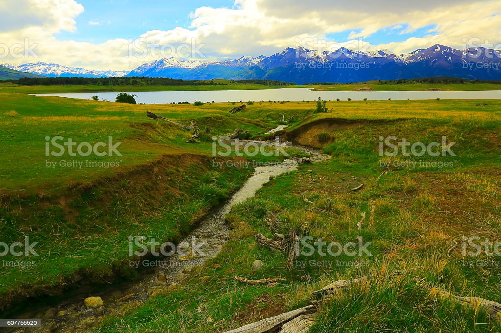 River into Lake, Patagonia Andes mountains landscape, El Calafate, Argentina stock photo