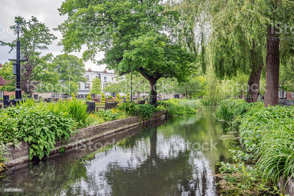 River Itchen and gardens in Winchester stock photo