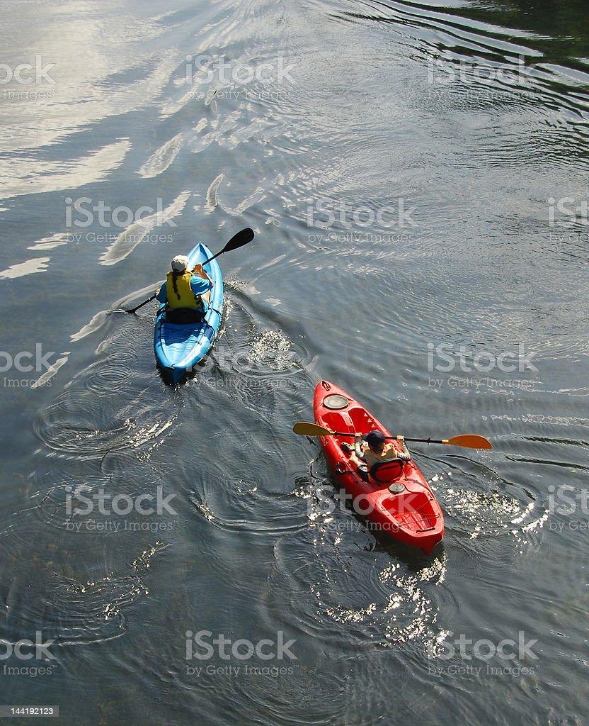 River Kayakers royalty-free stock photo
