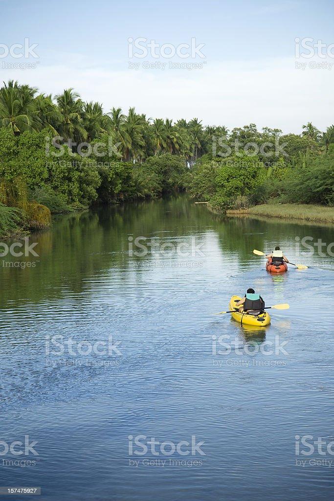 River kayaking stock photo
