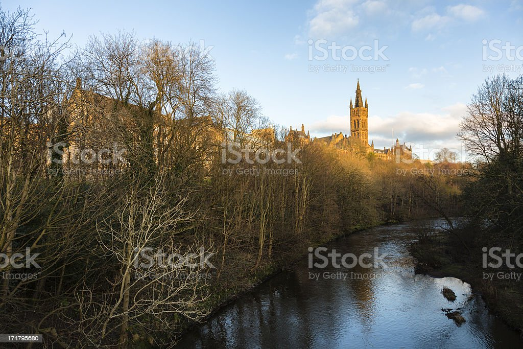 River Kelvin and Bell Tower stock photo